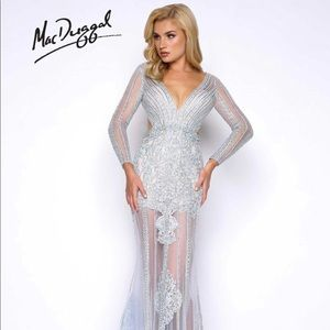 Mac Duggal Silver Blue Prom/pageant Dress